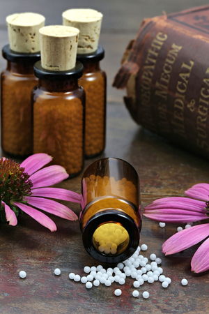 pseudoscience: homeopathic echinacea pills on wooden background Stock Photo