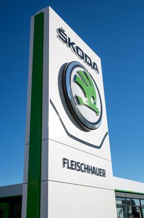 appointed: Skoda dealership sign in front of the showroom Editorial