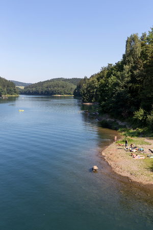 catchment: Aggertalsperre - storage reservoir dammed by the river Agger near Gummersbach  Germany Stock Photo