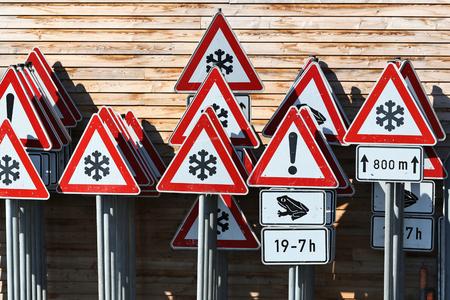 depot: German traffic signs at road maintenance depot