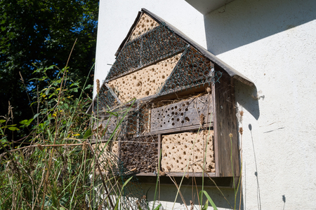 tinkered: insect hotel at exterior wall Stock Photo