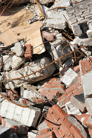 dump yard: building rubble from demolished residential house Stock Photo