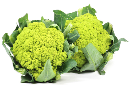 head of cauliflower: green cauliflower heads isolated on white background