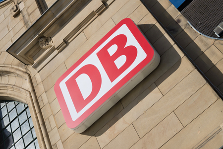 ag: DB logo at Koblenz Hauptbahnhof (main station). German Bahn AG is the large largest railway operator and infrastructure owner in Europe.