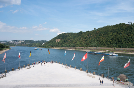 Deutsches Eck (German Corner) in Koblenz  Germany, headland where the Moselle joins the Rhine.