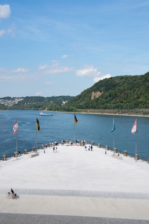 joins: Deutsches Eck (German Corner) in Koblenz  Germany, headland where the Moselle joins the Rhine.