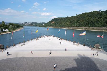 inland waterways: Deutsches Eck (German Corner) in Koblenz  Germany, headland where the Moselle joins the Rhine.