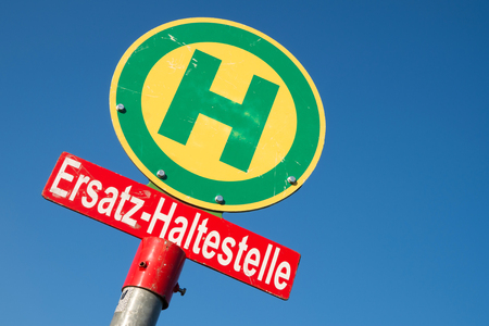 surrogate: German road sign: surrogate bus stop