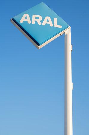 ag: Aral sign against blue sky Editorial