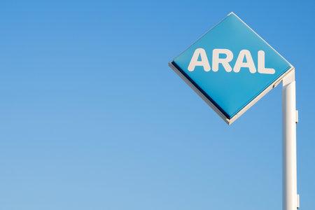 bp: Aral sign against blue sky Editorial
