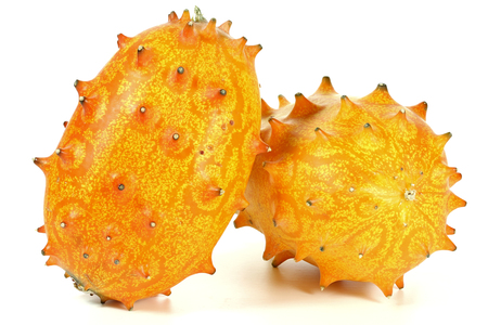 hedged: horned melon isolated on white background Stock Photo