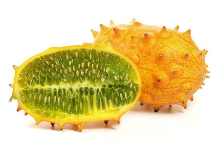 cuernos de melón aislado en el fondo blanco Foto de archivo