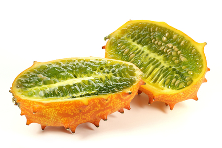 horned melon isolated on white background Stock Photo