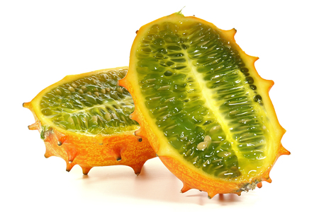 mellowness: horned melon isolated on white background Stock Photo