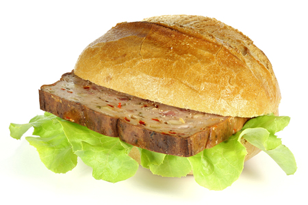 hero sandwich: Pizza Leberkaese roll isolated on white background (Leberkaese is a kind of meat loaf found in Germany, Austria and Switzerland)