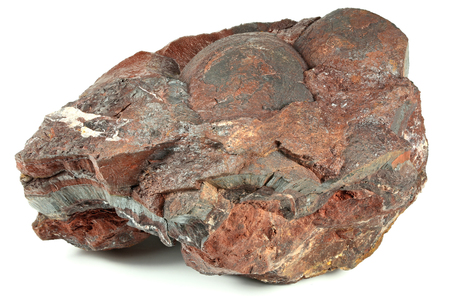 ore: iron ore from the Czech Ore Mountains isolated on white background