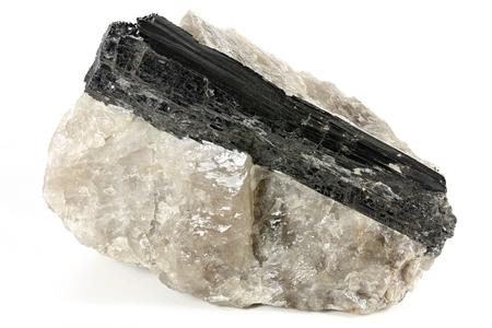 black Tourmaline on Quartz isolated on white background