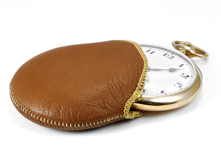 antique Swiss 14k gold pocket watch isolated on white background