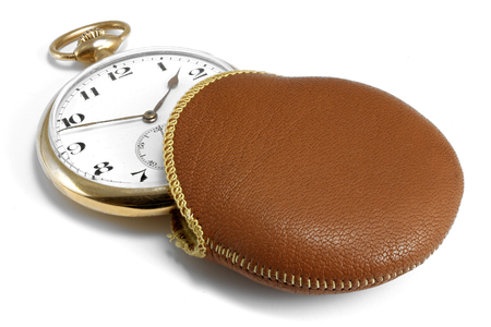 14k: antique Swiss 14k gold pocket watch isolated on white background
