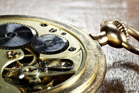 clockwork of an antique Swiss 14k gold pocket watch