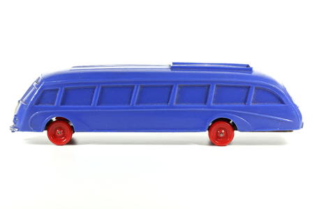 streamlined: WIKING streamlined bus isolated on white background. Made around 1950 the streamlined bus is one of the most expensive WIKING collector item. Editorial