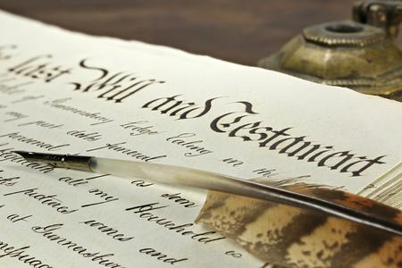 decedent: old handwritten testament on desktop