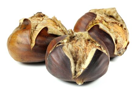 roasted chestnuts isolated on white background