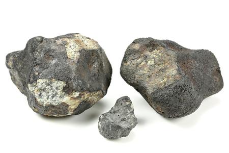 chelyabinsk: fragments of the 2013 Chelyabinsk meteorite isolated on white background