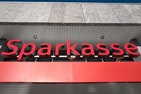 decentralized: entrance of a German Sparkasse