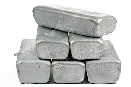silver ingots: zinc ingots isolated on white background Stock Photo