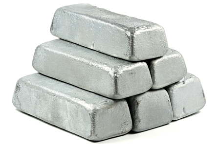 zinc ingots isolated on white background Stock Photo