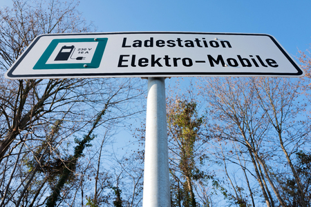 electric vehicle: German road sign: electric vehicle charging station