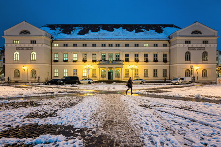 registro: Wismar town hall in the dark Editorial