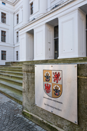 governor: plaque at the office of the governor of German state Mecklenburg-Western Pomerania Editorial