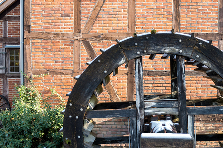 water mill: wooden wheel of an historic water mill