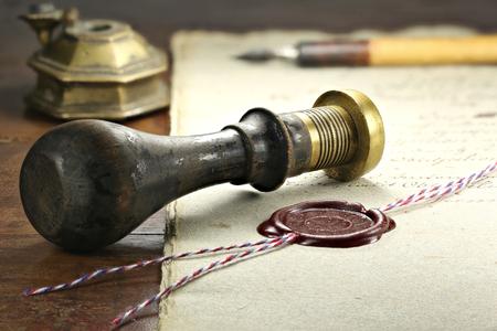 sello de cera en el documento