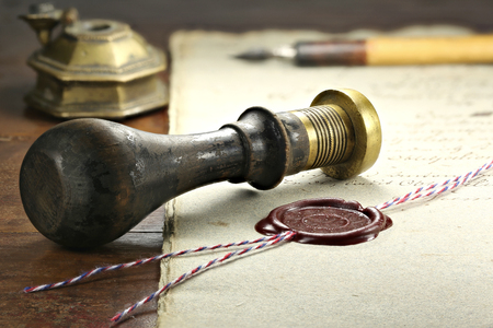 wax seal on document Banco de Imagens
