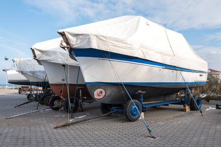 motorboats: onshore Stored motorboats