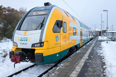 electricity company: ODEG regional train. , This double decker electric multiple unit commuter train is of type KISS160 and developed by Stadler Rail of Switzerland.