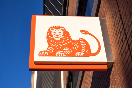bank branch: ING sign at branch Editorial