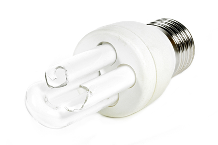 broken tubular-type compact fluorescent lamp isolated on white background