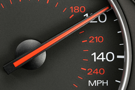 mph: speedometer at 120 mph