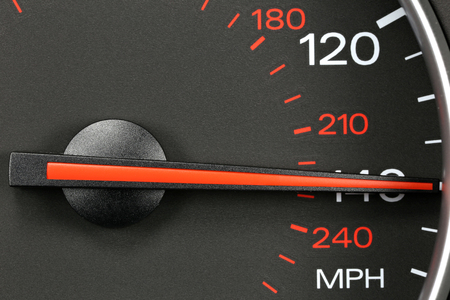 mph: speedometer at 140 mph