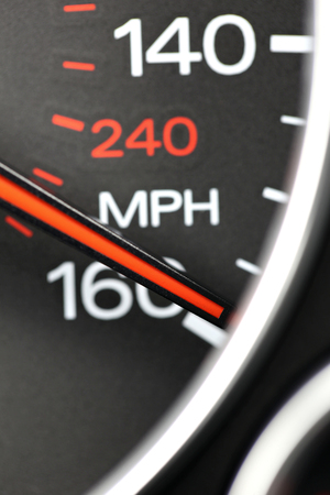analogous: speedometer at 160 mph Stock Photo