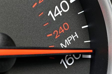 mph: speedometer at 160 mph Stock Photo