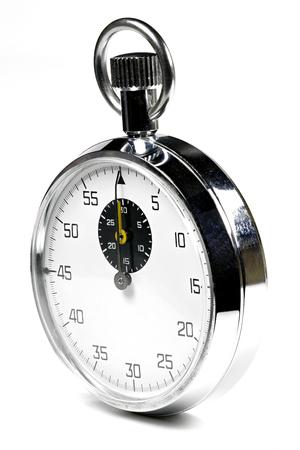 puntualidad: aislado cronómetro analógico fondo blanco Foto de archivo