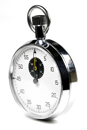 seconds: analogue stopwatch isolated white background Stock Photo