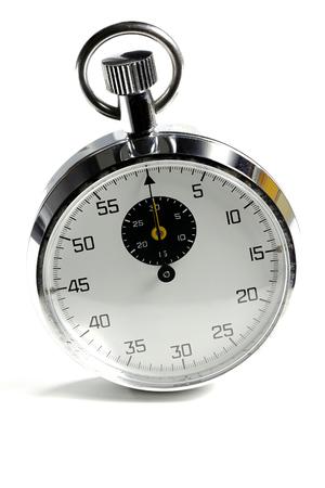 cronógrafo: aislado cronómetro analógico fondo blanco Foto de archivo