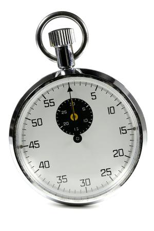 analogous: analogue stopwatch isolated white background Stock Photo