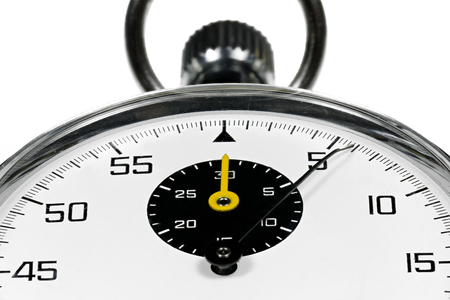 chronograph: analogue stopwatch isolated white background Stock Photo